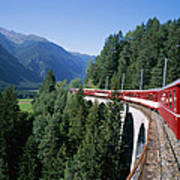 The Glacier Express Crosses A Bridge Poster by Taylor S. Kennedy