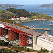 The Golden Gate Bridge North Side Overlooking Angel Island And Tiburon And Horseshoe Bay . 7d14540 Poster by Wingsdomain Art and Photography