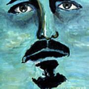 Blue Man In The Sky Surreal Portrait Unique Contemporary Figurative Fine Art Surrealism Decor Print Poster