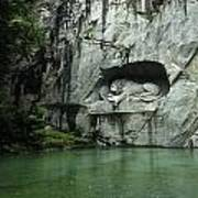 The Lion Monument In Lucerne Honouring The Swiss Soldiers Killed During French Revolution Poster