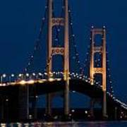 The Mackinaw Bridge At Night By The Straits Of Mackinac Poster