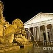 The Pantheon At Night. Piazza Della Rotonda.rome Poster by Bernard Jaubert