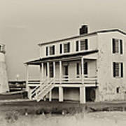 The Piney Point Lighthouse In Sepia Poster