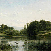 The Pond At Gylieu Poster