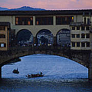 The Ponte Vecchio At Dusk Poster