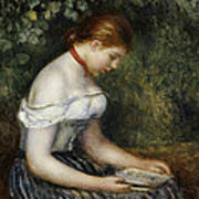 The Reader A Seated Young Girl  Poster by Pierre Auguste Renoir