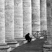 The Reader Amidst The Columns Bw Poster