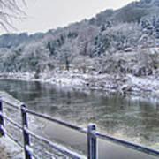 The River Severn In Ironbridge Frozen During Winter II Poster