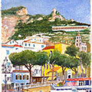 The Ruined Tower Above The Beach At Amalfi On The Southern Italian Coast Poster