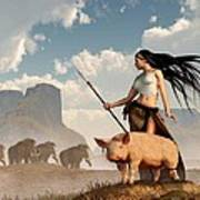 The Savage Hunting Pig Poster