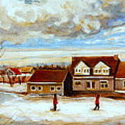The Schoolhouse Winter Morning Quebec Rural Landscape Poster