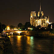 The Seine And Notre Dame At Night Poster