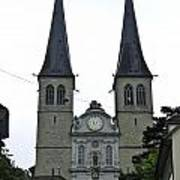 The Twin Spires Of Hof Church In Lucerne Poster