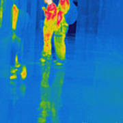 Thermogram Of Students At A Locker Poster