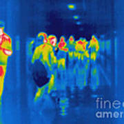 Thermogram Of Students In A Hallway Poster