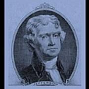 Thomas Jefferson In Cyan Poster