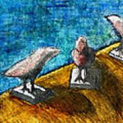 Three Birds Blue Poster