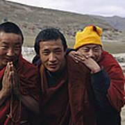 Three Buddhist Lamas In Gansu Province Poster by David Edwards