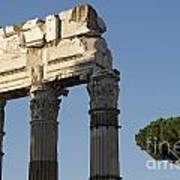Three Columns And Architrave Temple Of Castor And Pollux Forum Romanum Rome Poster