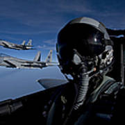 Three F-15 Eagles Fly High Poster