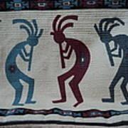 Three Flute Players Kokopelli Style Poster