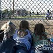 Three Girls Watching Ball Game Behind Home Plate Poster