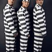 Three Prisoners. Group Of Men In Suits Of Convicts. Poster