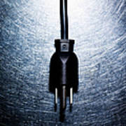 Three-pronged Electrical Plug On Stainless Steel. Poster