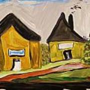 Three Yellow Houses With Picture Windows Poster