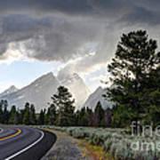 Thunderstorm On Grand Teton Road Poster