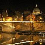Tiber River And Ponte Vittorio Emanuele II Bridge With St. Peter's Basilica. Vatican City. Rome Poster