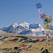 Tibetan Buddhist Prayer Flags Atop Pass Poster