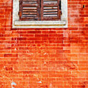 Tiny Window On Orange Wall Poster