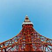 Tokyo Tower Faces Blue Sky Poster by Ulrich Schade