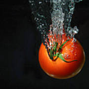Tomato Falling Into Water Poster