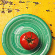 Tomato On Green Plate Poster
