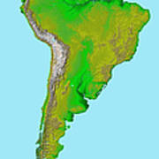 Topographic View Of South America Poster