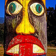Totem Pole With Tongue Sticking Out Poster