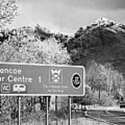 tourist sign for glencoe visitors centre in glen coe highlands Scotland uk Poster