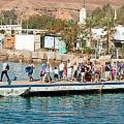 Tourists Waiting To Climb Onto Dive And Snorkeling Boats At Sharm El Sheikh Poster