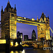 Tower Bridge In London At Night Poster