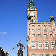 Town Hall And Neptune Fountain In Gdansk Poster