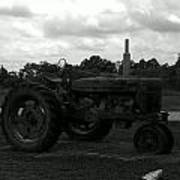 Tractor At The Flats Poster