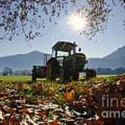 Tractor In Backlight Poster