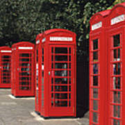Traditional Red Telephone Boxes In London, England Poster