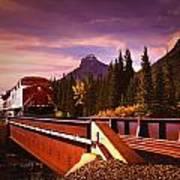 Train Going Over A Bridge Banff Poster
