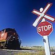Train Passing Railway Crossing Poster