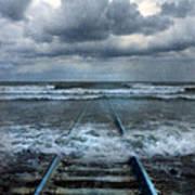 Train Tracks Into The Sea Poster