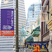Transamerica Pyramid Through Jack Kerouac Street San Francisco Poster