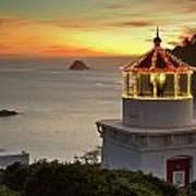 Trinidad Memorial Lighthouse Sunset Poster